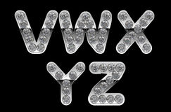Silver V-Y letters incrusted with diamonds Royalty Free Stock Images