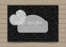 Silver Valentine Card Template. With Hearts for a Saint Valentines Day on Black Background and Wooden Texture.  Vector illustration Can be Used for Love Letter Royalty Free Stock Photo