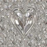 Silver valentines metal heart vector illustration