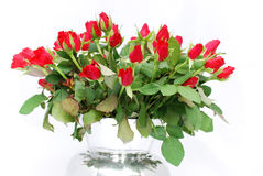 Silver vase with bunch of red roses 3 Royalty Free Stock Image
