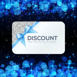 Silver vector gift card with blue ribbon and bow Royalty Free Stock Photo