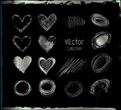 Silver vector hearts. Stock Image