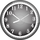 Silver vector wall clock with black face Royalty Free Stock Photography