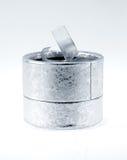 Silver velvet box Stock Photo