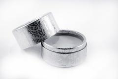 Silver velvet box Royalty Free Stock Images