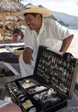 Silver Vendor Playa Las Estacas Mexico stock photography