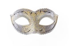 Silver Venetian carnival mask isolated on white background Royalty Free Stock Photography
