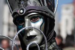 Silver venetian mask Royalty Free Stock Photography