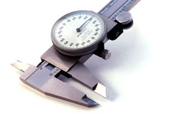 Silver Vernier. Close up of vernier caliper - silver hue - on white royalty free stock photos
