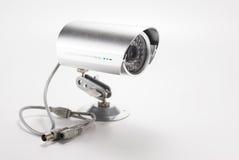 Silver video surveillance camera Stock Photos