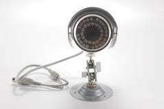 Silver video surveillance camera Stock Images