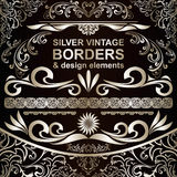 Silver vintage Borders and design elements Stock Photo
