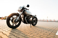 Silver vintage custom motorcycle cafe racer Royalty Free Stock Images
