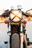 Silver vintage custom motorcycle cafe racer Royalty Free Stock Photos