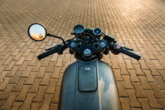 Silver vintage custom motorcycle cafe racer Stock Images