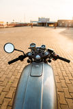 Silver vintage custom motorcycle caferacer stock image