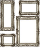 Silver Vintage Frames. Set of similar silver colored vintage picture frames isolated on white background Royalty Free Stock Photos