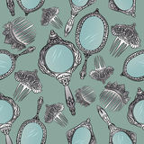 Silver vintage Hand Mirror and Hair Combs seamless pattern. Stock Image