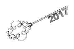 Silver Vintage Key with 2017 year Sign. 3d Rendering Royalty Free Stock Photo