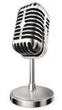 Silver vintage microphone stock image