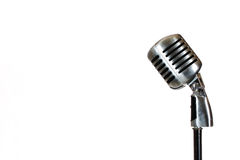 Silver vintage microphone in the studio on white background Royalty Free Stock Photo