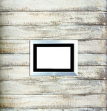 Silver Vintage picture frame on old wood Royalty Free Stock Images