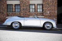 A silver vintage sports car royalty free stock photo