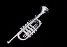 Silver Vintage Toy Trumpet Royalty Free Stock Photos