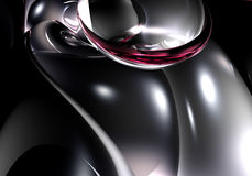 Silver&violette metall 01. A Study of Form&Colors, rendered in Bryce Stock Image
