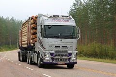 Free Silver Volvo FH Logging Truck On Foggy Morning Stock Photos - 84303983