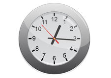 Silver Wall Clock Icon Stock Image