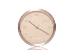 Silver wall clock Stock Photo