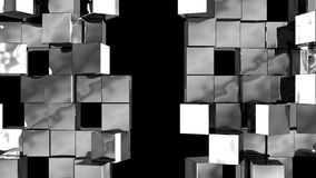 Silver Wall of cubes divide. Silver Wall of cubes is divided into separate blocks and moves apart in opposite directions. Abstract transition, 3D animated intro vector illustration