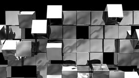 Silver Wall of cubes falls apart. Blocks are moving out of flat surface and fall down. Abstract transition, 3D animated intro. Transparent background ProRes vector illustration