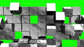 Silver Wall of cubes falls apart. Blocks are moving out of flat surface and fall revealing the green screen. Abstract transition, 3D animated intro with chroma stock illustration