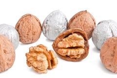 Silver walnuts Stock Photography
