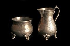 Silver ware. The silver ware isolated on black background Stock Images