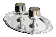 Silver ware. Cupronickel ware. Silver wine-glass stand on the tray Stock Photos