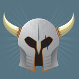 Silver Warrior Helmet. With horns and scars Stock Photography