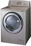 Silver washing machine Stock Images