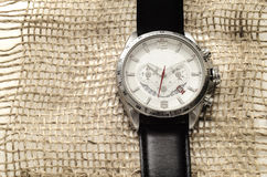 Silver watch with black leather belt Royalty Free Stock Photography