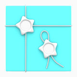 Silver star wax seal cyan gift box Stock Photography
