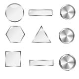 Silver web buttons for design. Vector set Stock Photography