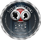 Silver Wedding Anniversary Badge Stock Images