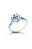 Silver Wedding or Engagement Ring with Blue Diamonds royalty free stock photography