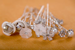 Silver wedding hearpins Stock Images