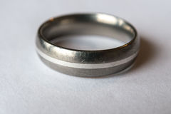 Silver Wedding ring with scratches Stock Photography