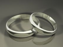 Silver wedding rings. 3d rendering Royalty Free Stock Images
