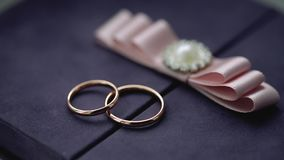Silver wedding rings on a box with a pink bow macro closeup shoot diamond jewellery. Jewellery macro highlight wedding rings couple symbol of happiness stock video