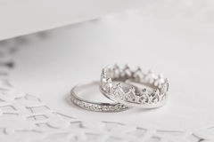 Silver wedding rings Stock Photo
